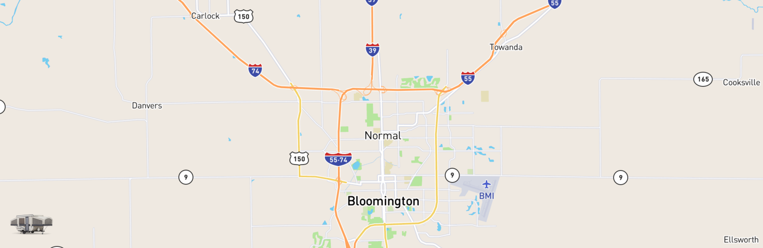 Pop Up Rentals Map Bloomington Normal, IL