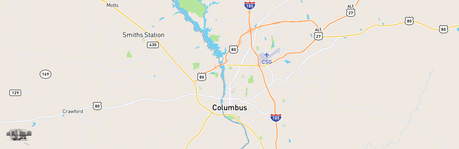 Pop Up Rentals Map Columbus, GA