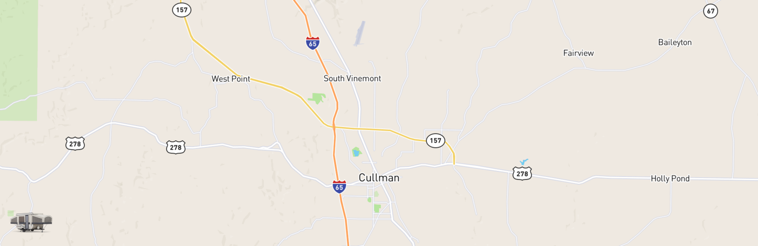 Pop Up Rentals Map Cullman, AL