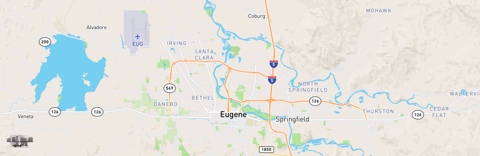 Pop Up Rentals Map Eugene, OR