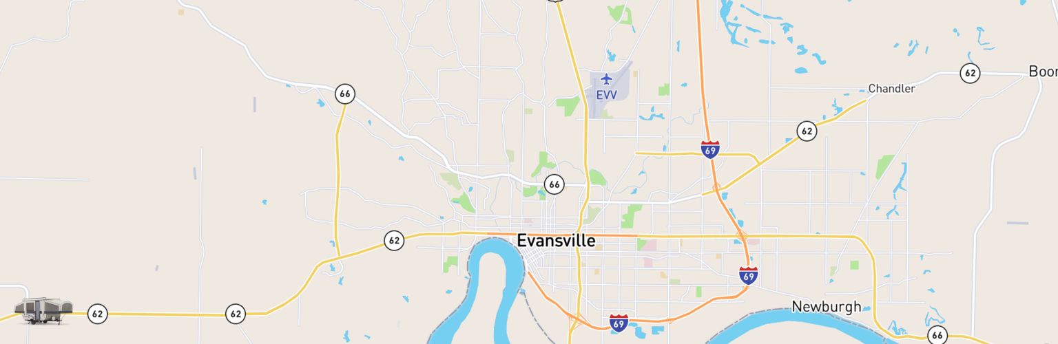 Pop Up Rentals Map Evansville, IN