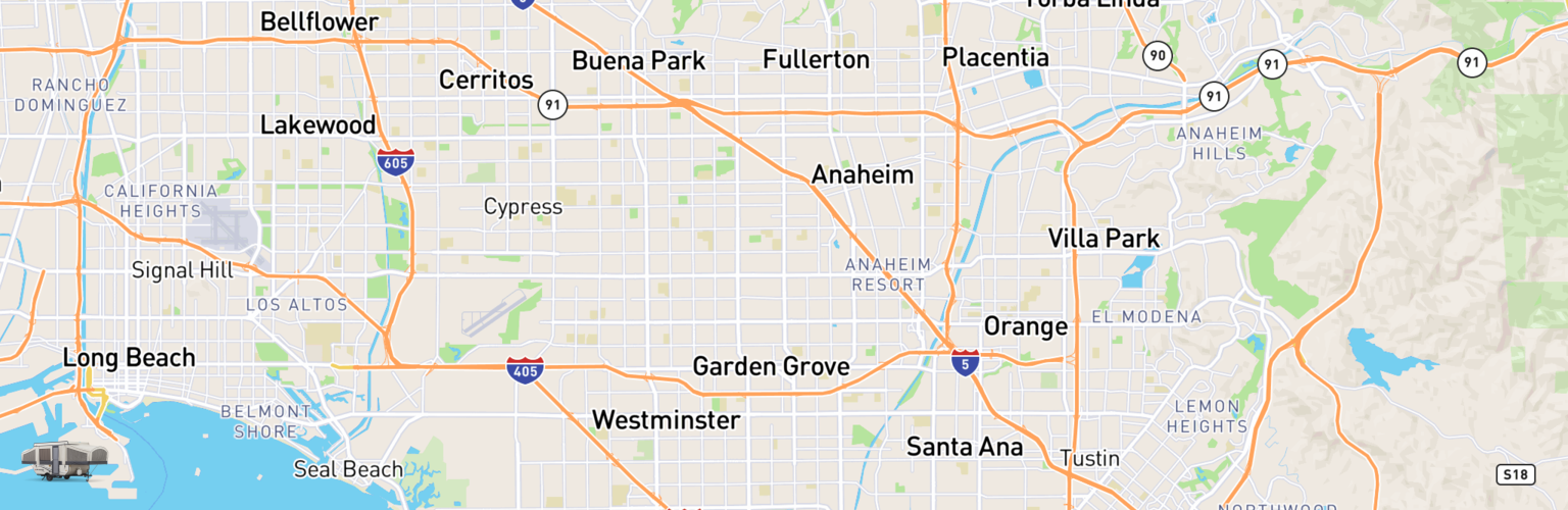 Pop Up Rentals Map Garden Grove, CA