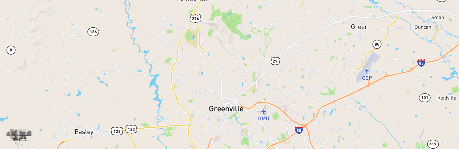 Pop Up Rentals Map Greenville, SC