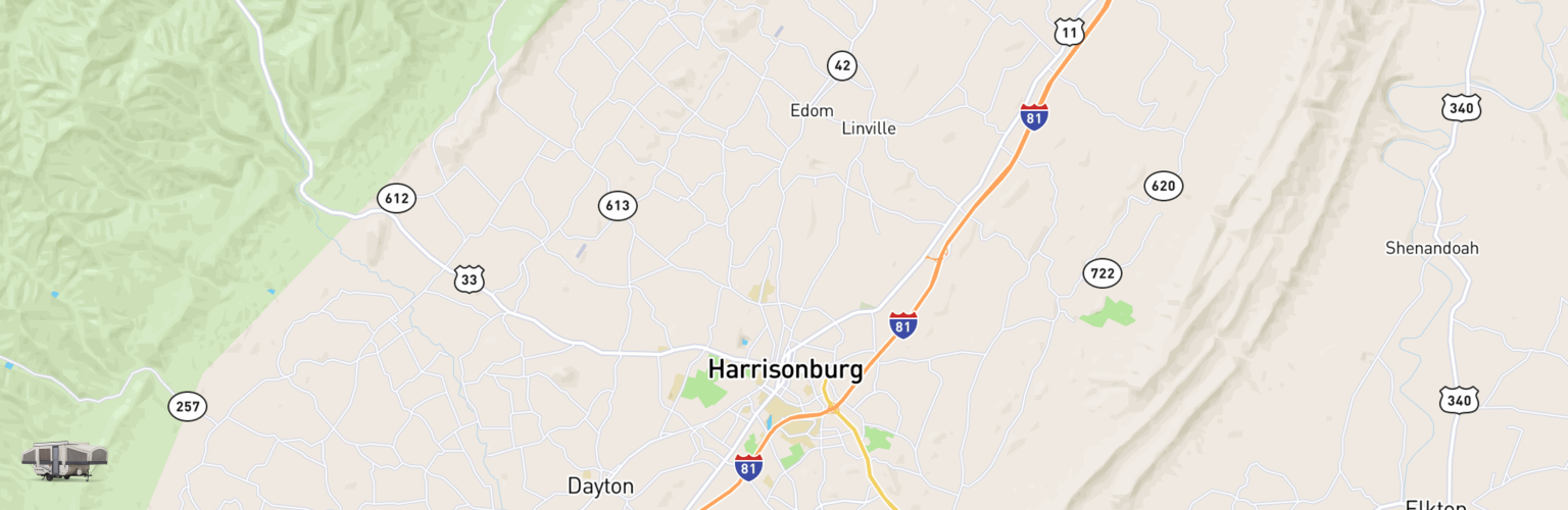 Pop Up Rentals Map Harrisonburg, VA