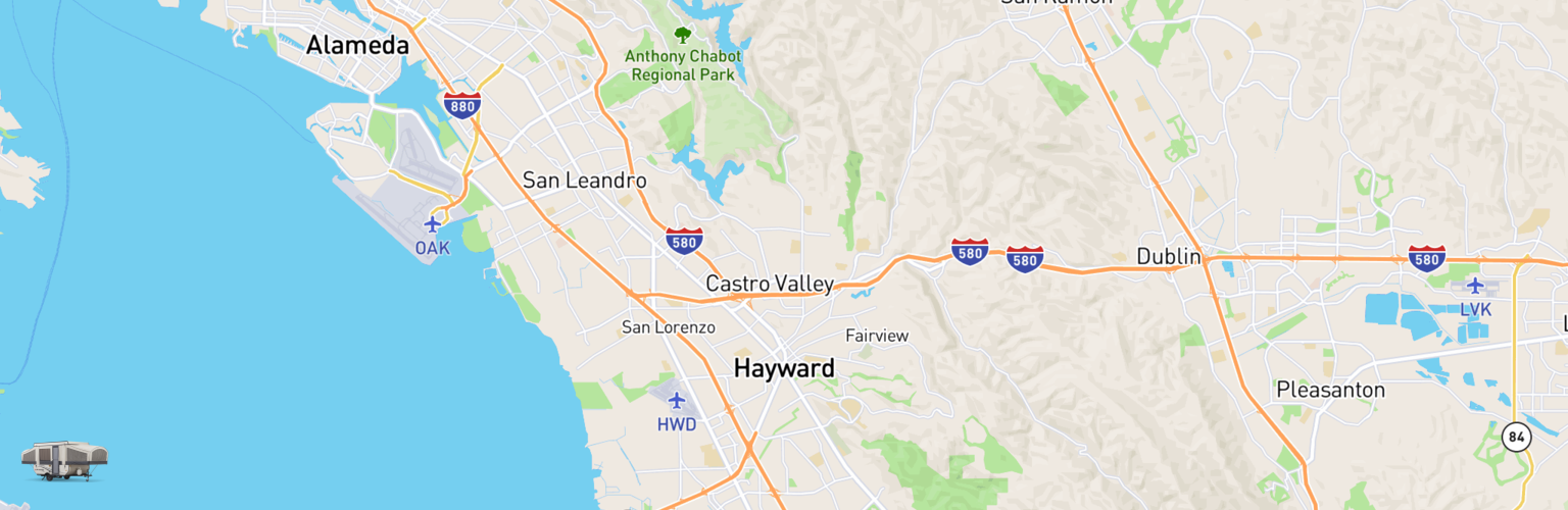 Pop Up Rentals Map Hayward, CA