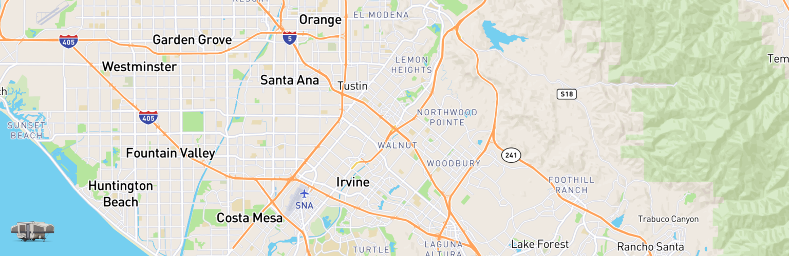 Pop Up Rentals Map Irvine, CA