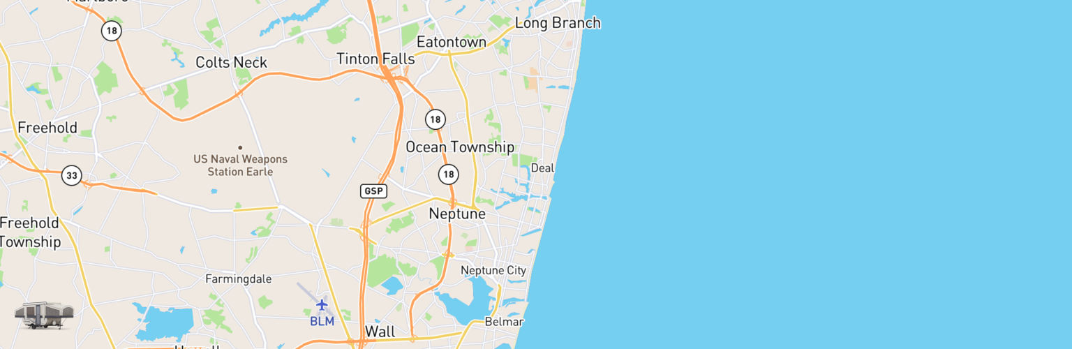 Pop Up Rentals Map Jersey Shore, NJ