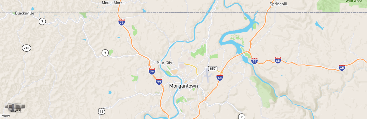 Pop Up Rentals Map Morgantown, WV