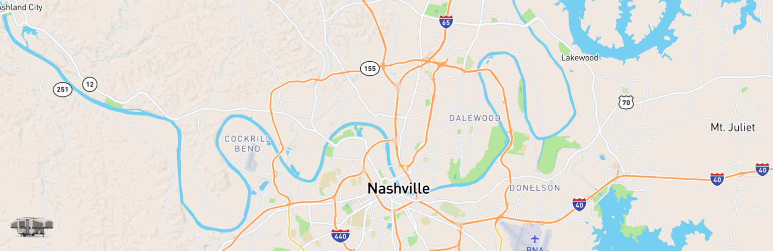 Pop Up Rentals Map Nashville, TN