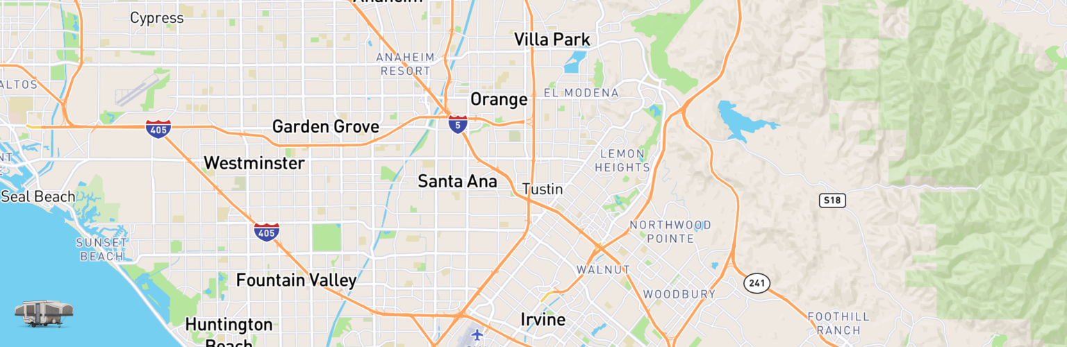 Pop Up Rentals Map Orange County, CA