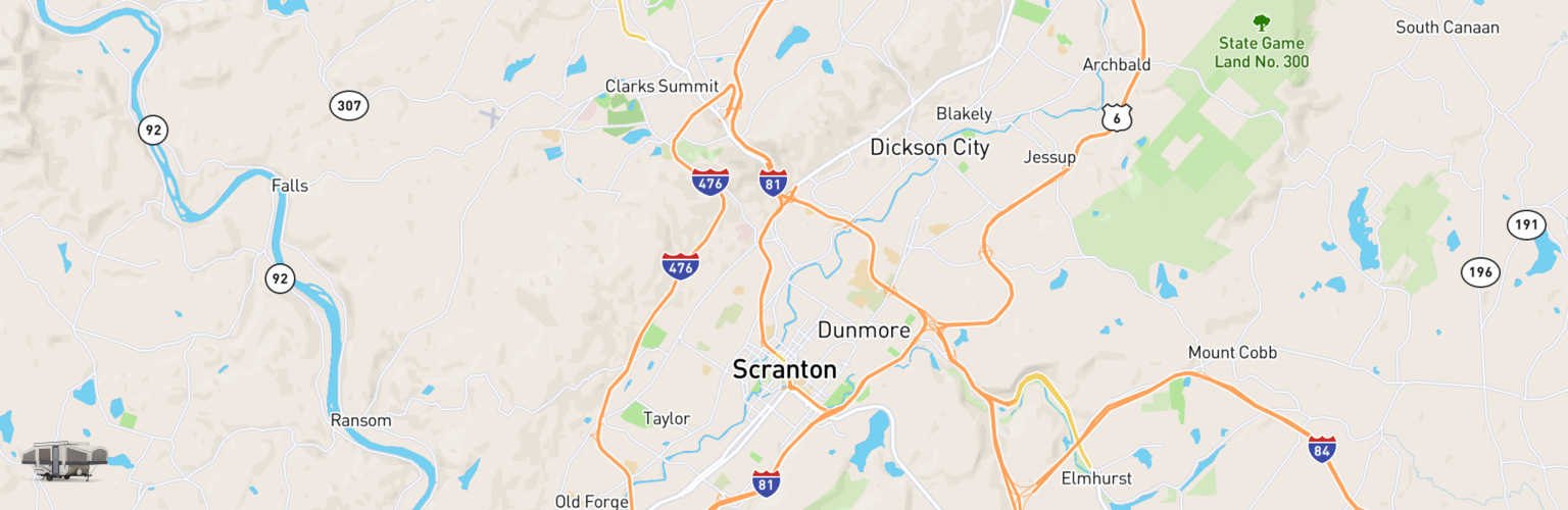 Pop Up Rentals Map Scranton, PA
