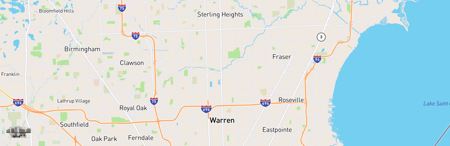 Pop Up Rentals Map Warren, MI