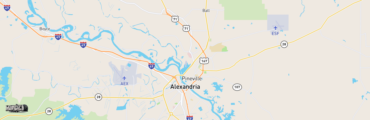 Travel Trailer Rentals Map Alexandria, LA