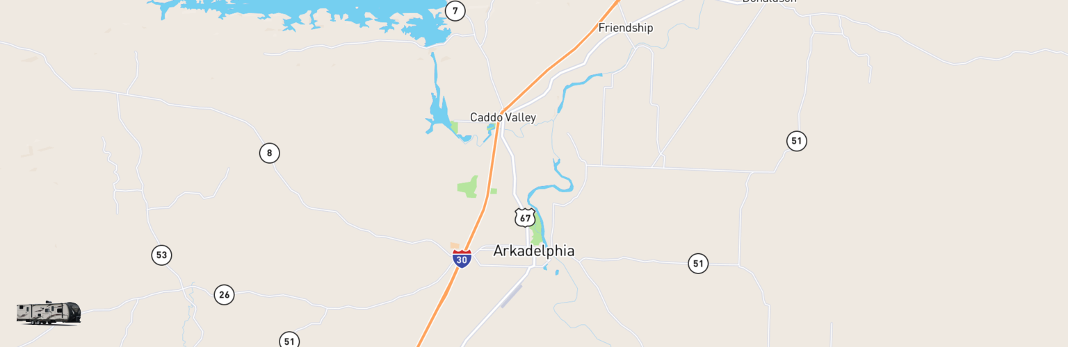 Travel Trailer Rentals Map Arkadelphia, AR