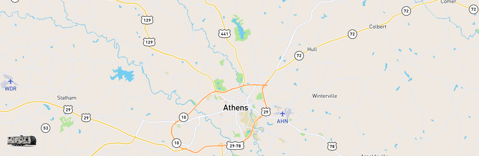 Travel Trailer Rentals Map Athens, GA