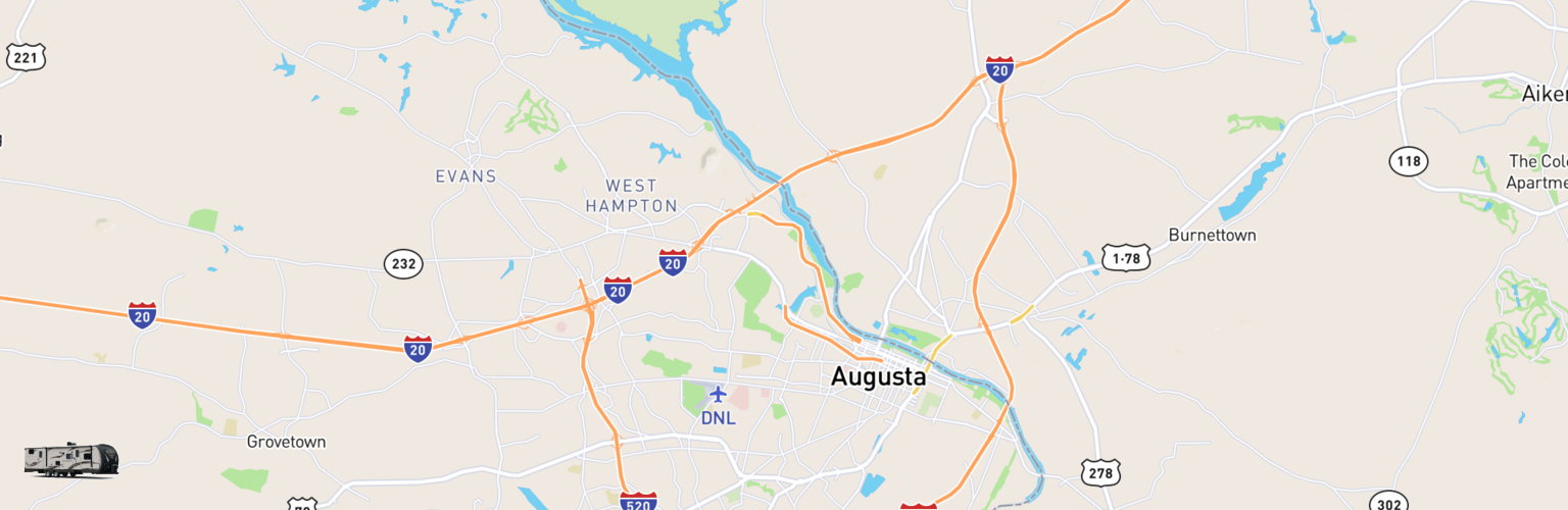 Travel Trailer Rentals Map Augusta, GA