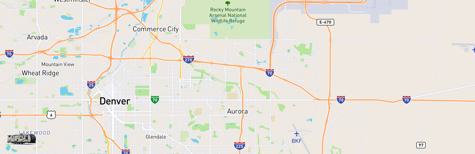 Travel Trailer Rentals Map Aurora, CO
