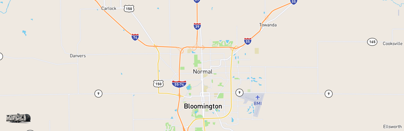 Travel Trailer Rentals Map Bloomington Normal, IL