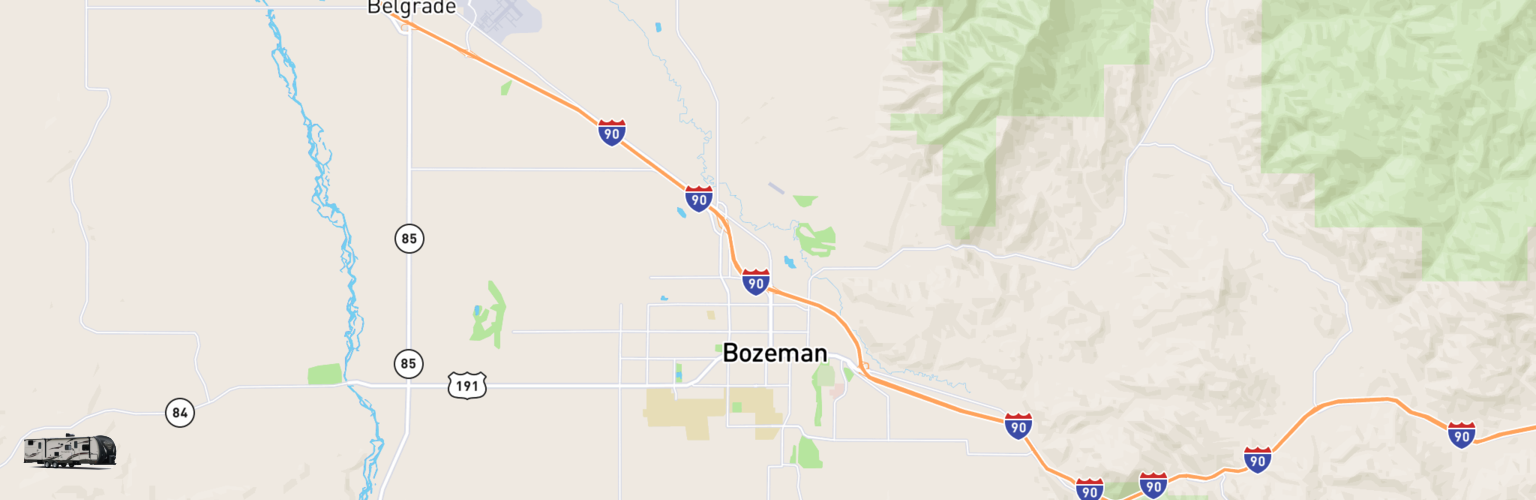 Travel Trailer Rentals Map Bozeman, MT
