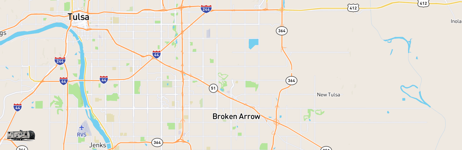Travel Trailer Rentals Map Broken Arrow, OK