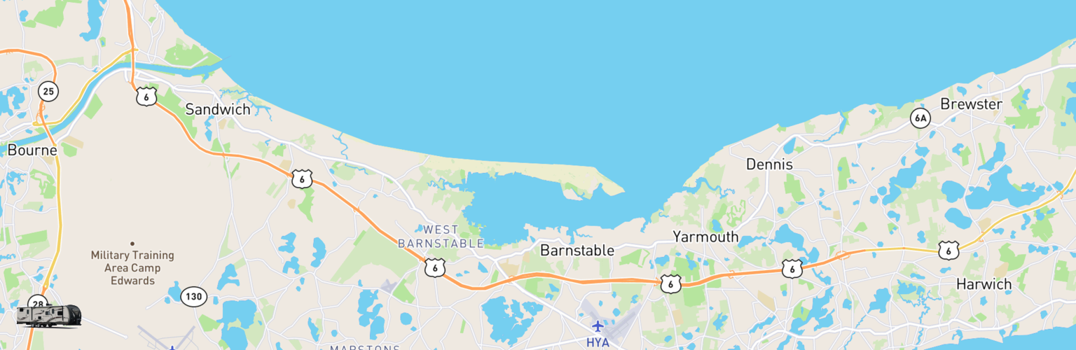 Travel Trailer Rentals Map Cape Cod, MA