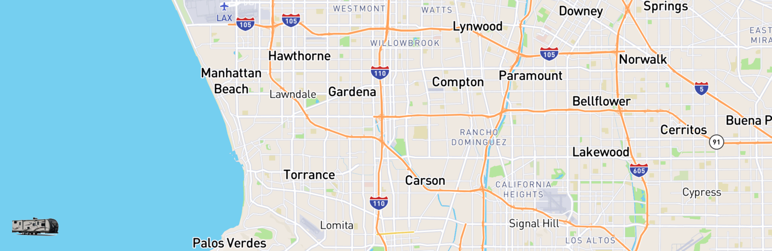 Travel Trailer Rentals Map Carson, CA
