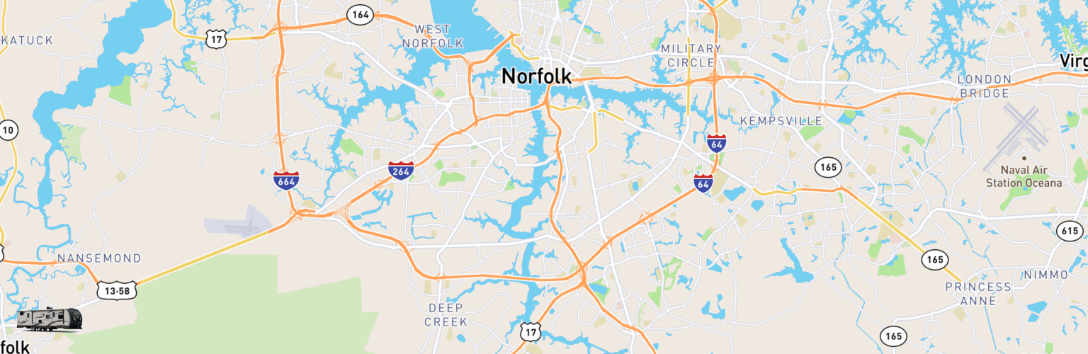 Travel Trailer Rentals Map Chesapeake, VA