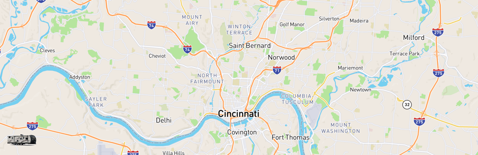Travel Trailer Rentals Map Cincinnati, OH