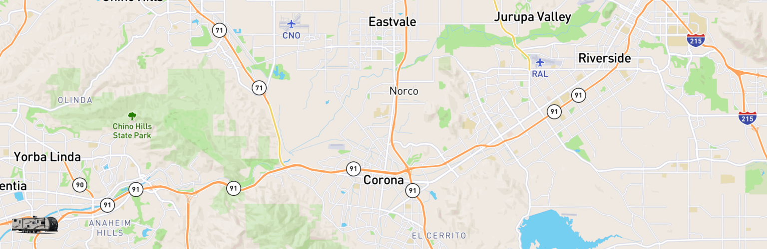 Travel Trailer Rentals Map Corona, CA