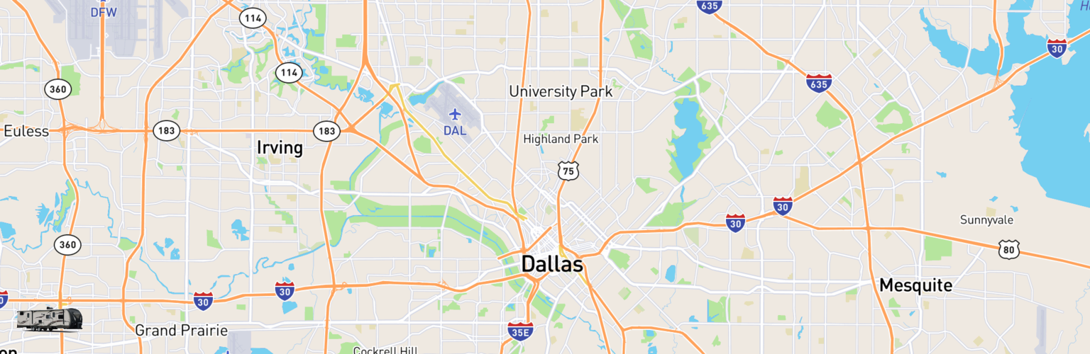 Travel Trailer Rentals Map Dallas, TX