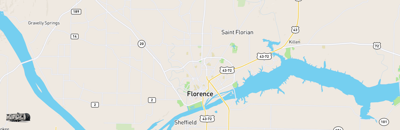 Travel Trailer Rentals Map Florence, AL