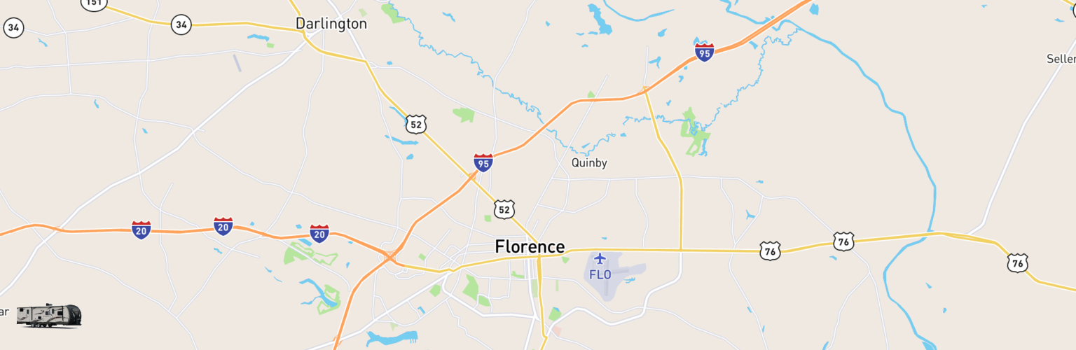 Travel Trailer Rentals Map Florence, SC