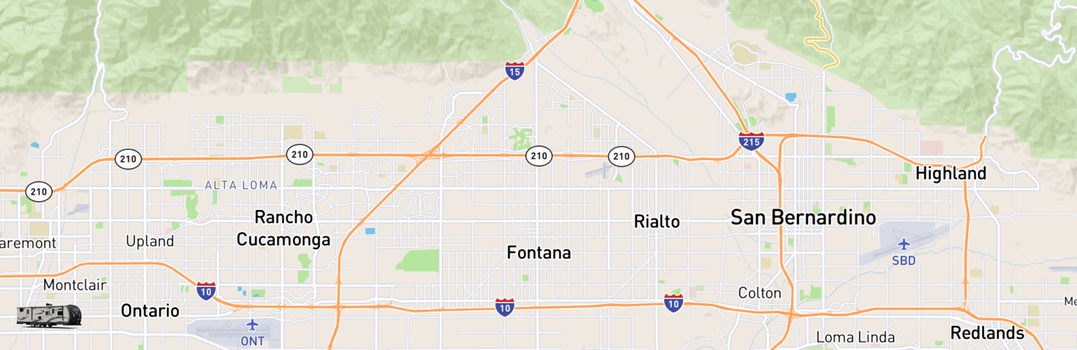 Travel Trailer Rentals Map Fontana, CA