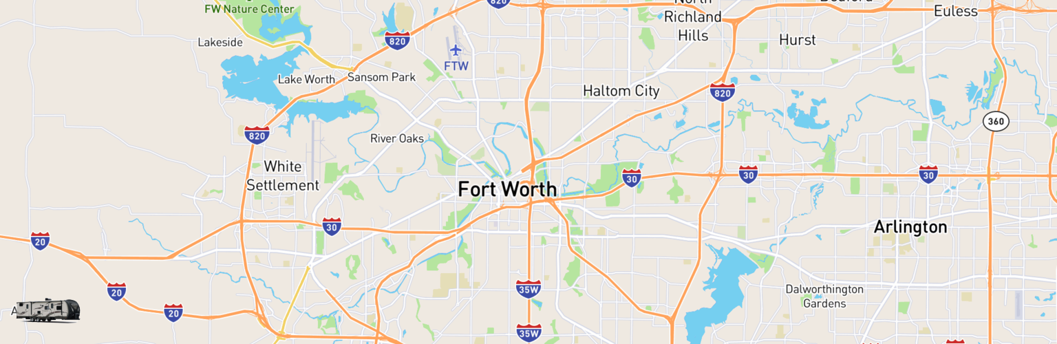 Travel Trailer Rentals Map Fort Worth, TX