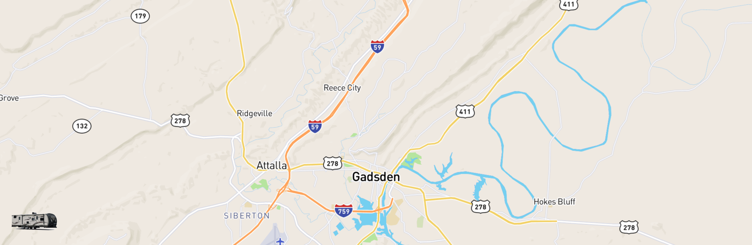 Travel Trailer Rentals Map Gadsden, AL