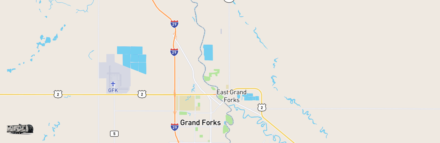Travel Trailer Rentals Map Grand Forks, ND