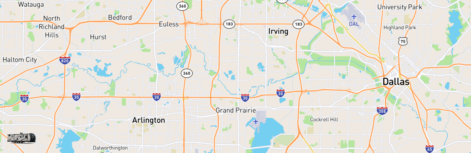 Travel Trailer Rentals Map Grand Prairie, TX