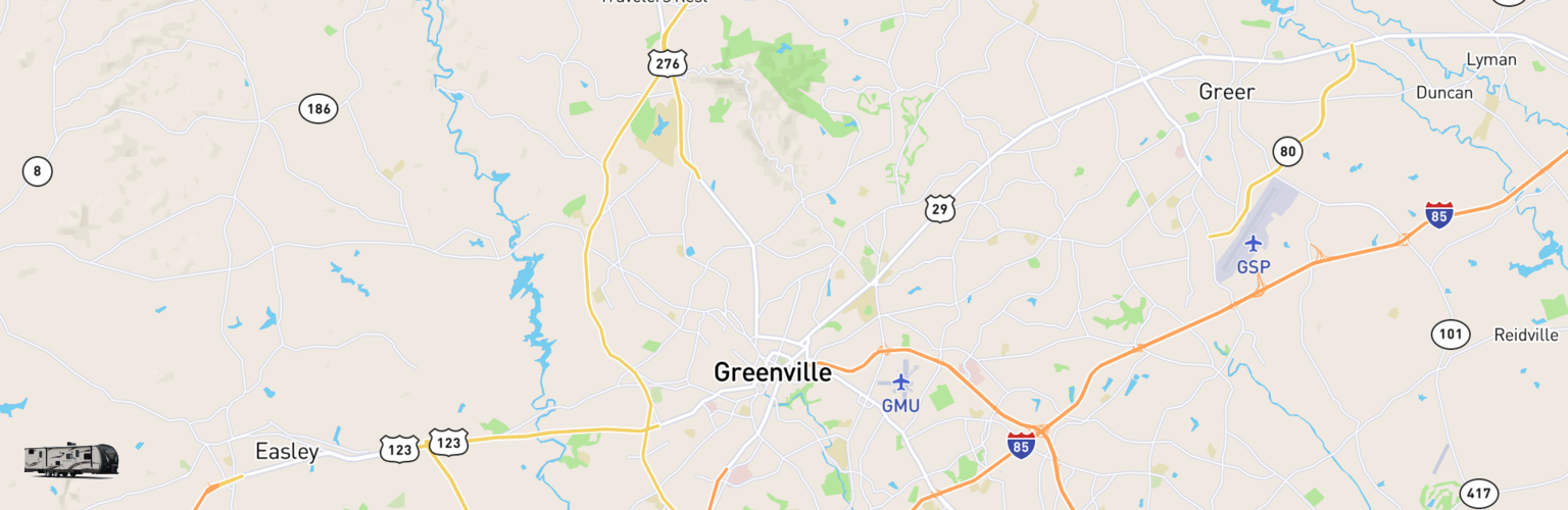 Travel Trailer Rentals Map Greenville, SC