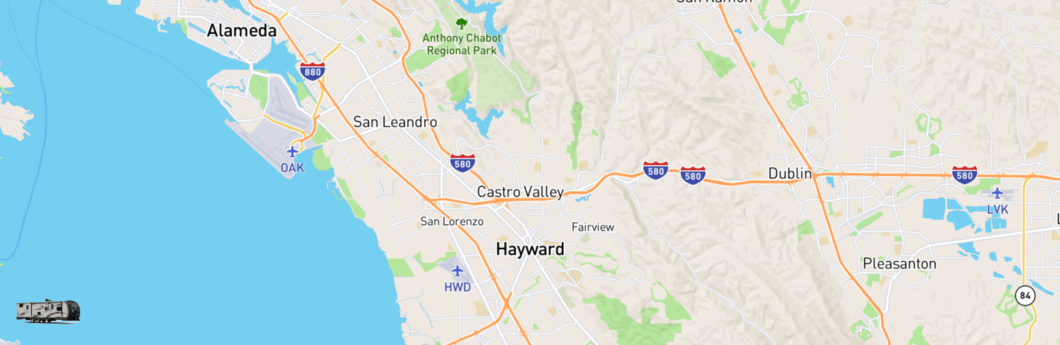 Travel Trailer Rentals Map Hayward, CA