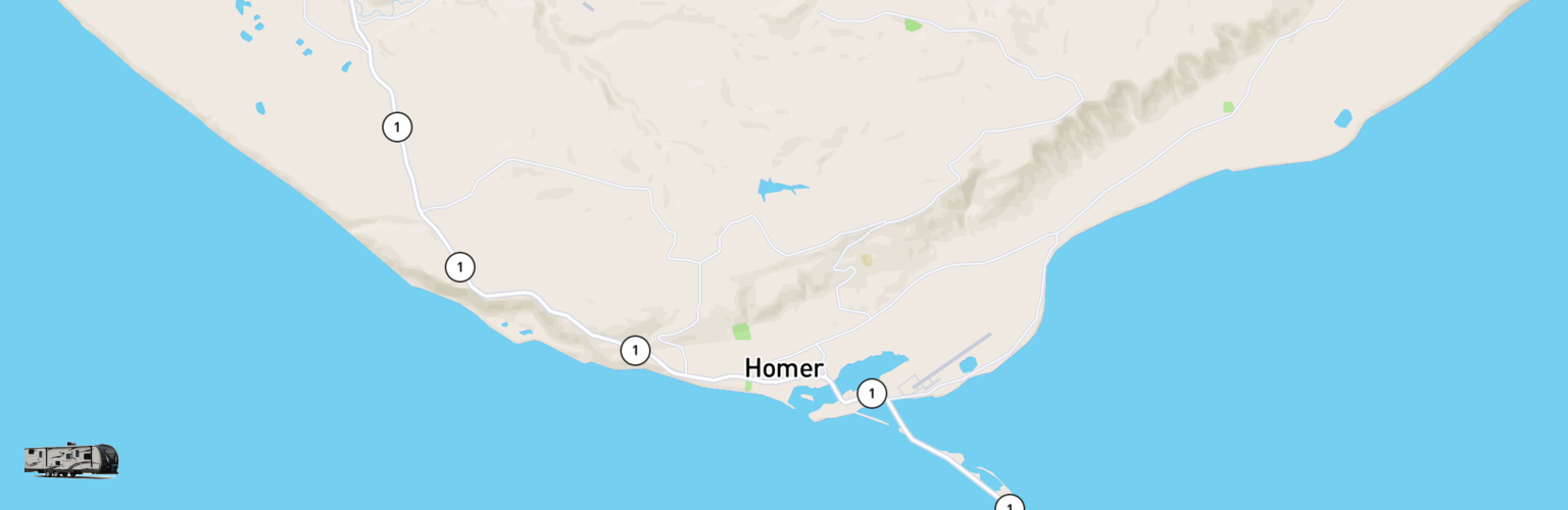 Travel Trailer Rentals Map Homer, AK