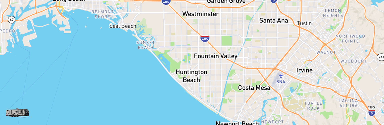 Travel Trailer Rentals Map Huntington Beach, CA