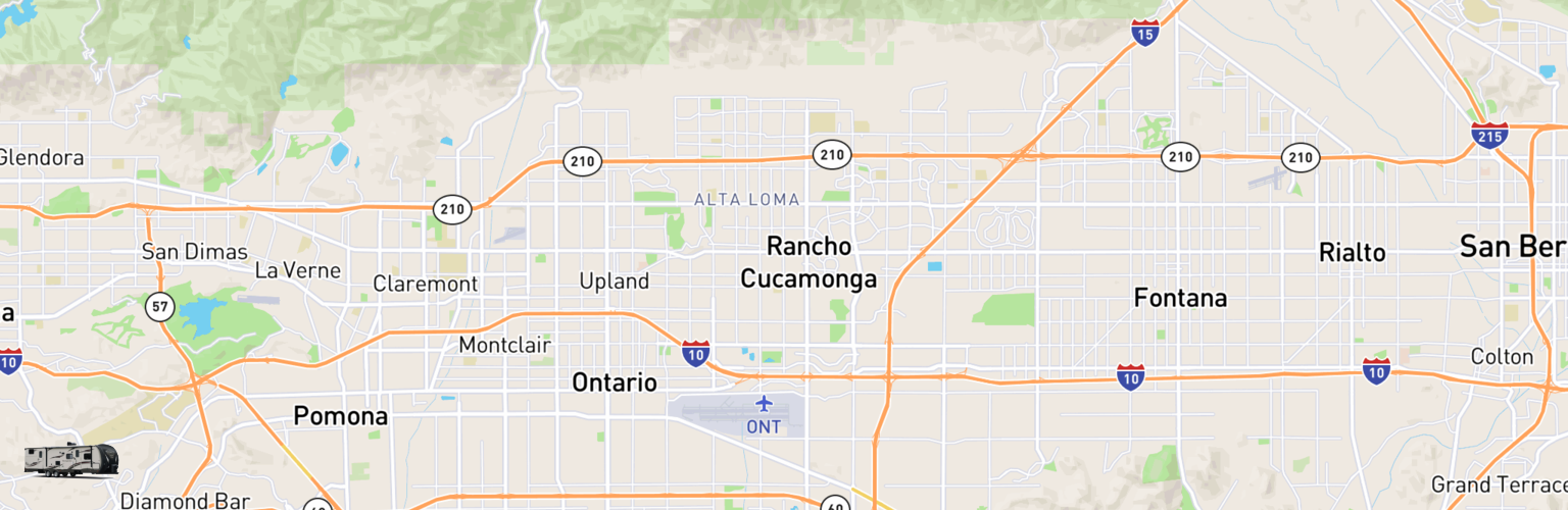 Travel Trailer Rentals Map Inland Empire, CA