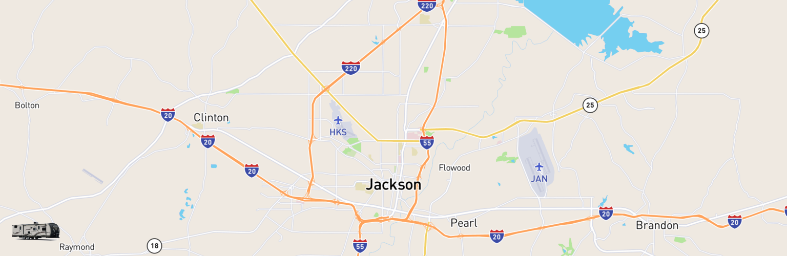Travel Trailer Rentals Map Jackson, MS