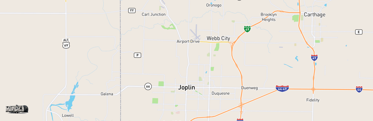 Travel Trailer Rentals Map Joplin, MO