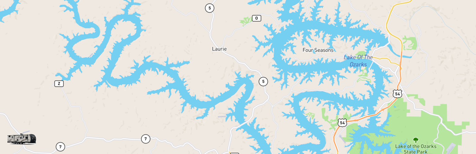 Travel Trailer Rentals Map Lake Of The Ozarks, MO