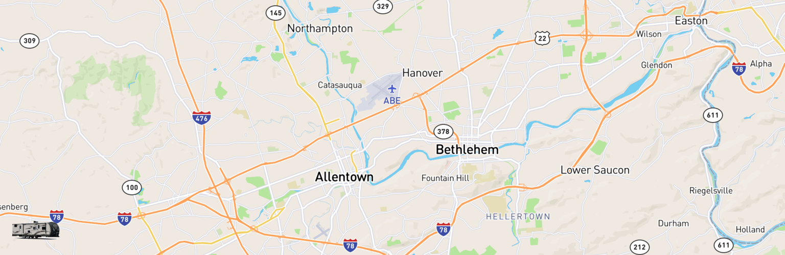 Travel Trailer Rentals Map Lehigh Valley, PA