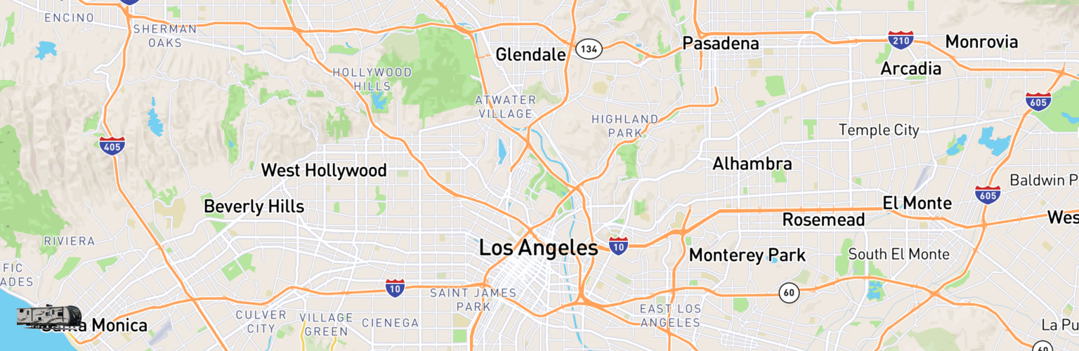 Travel Trailer Rentals Map Los Angeles, CA