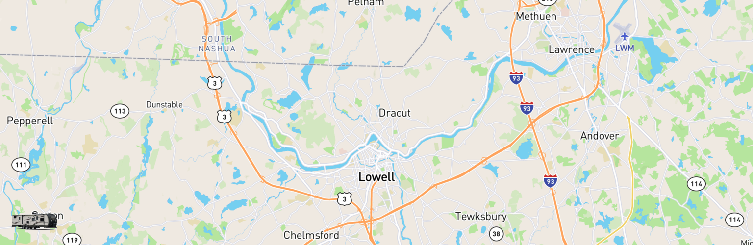 Travel Trailer Rentals Map Lowell, MA