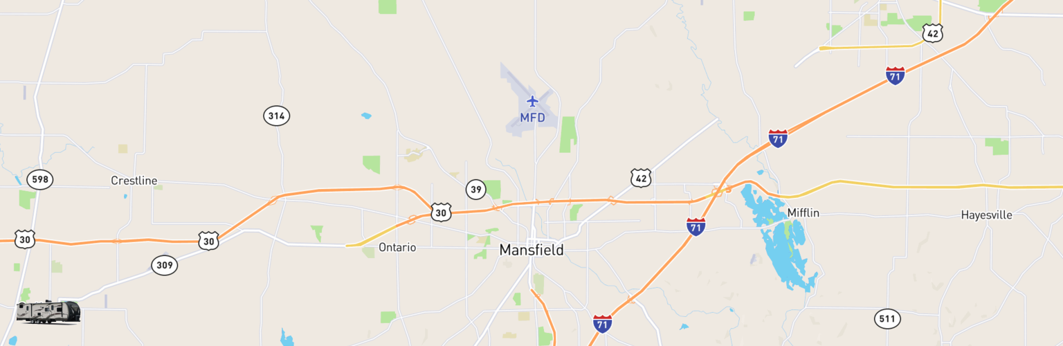 Travel Trailer Rentals Map Mansfield, OH