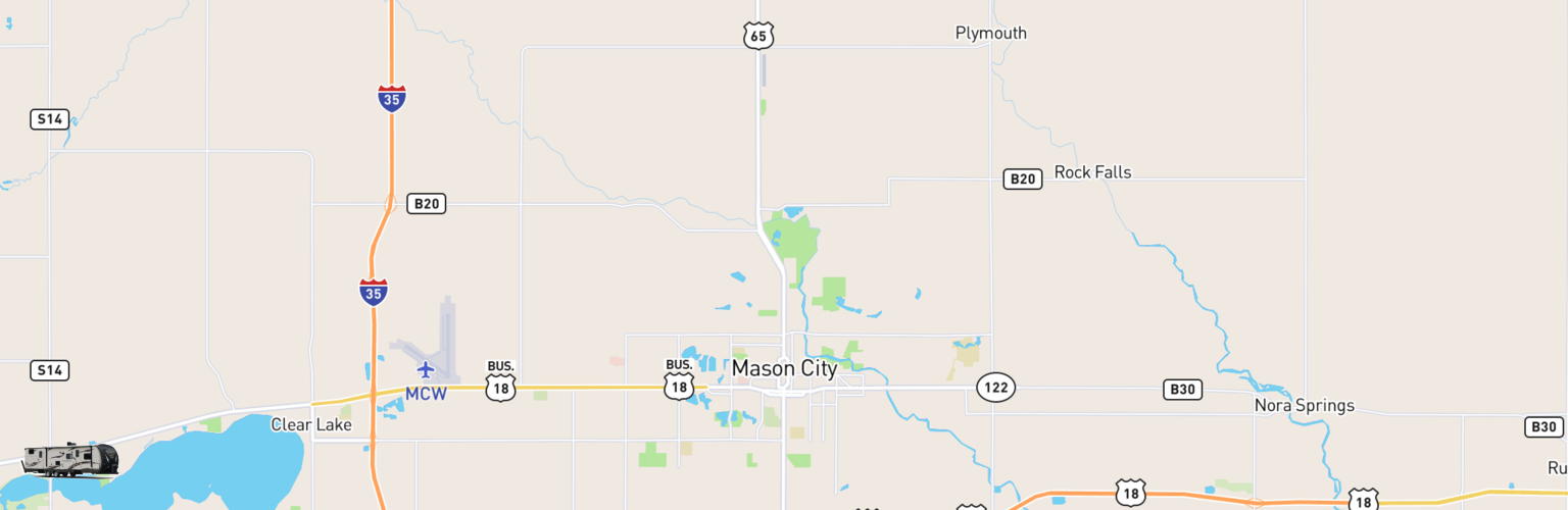 Travel Trailer Rentals Map Mason City, IA